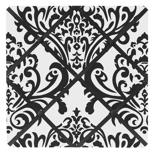 Black and White Isabella Fabric Memory/Memo Photo Bulletin Board - Click to enlarge