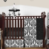 Black and White Isabella Girls Baby Bedding - 11pc Crib Set