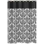 Black and White Isabella Kids Bathroom Fabric Bath Shower Curtain