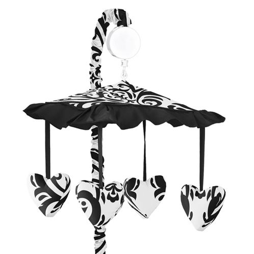 Black and White Isabella Musical Baby Crib Mobile by Sweet Jojo Designs - Click to enlarge