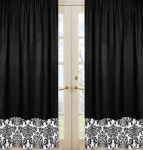 Black and White Isabella Window Treatment Panels - Set of 2 - Click to enlarge