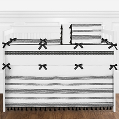 Black and White Modern Boho Baby Boy or Girl Nursery Crib Bedding Set with Bumper by Sweet Jojo Designs - 9 pieces - Gender Neutral Minimalist Bohemian Aztec Tribal