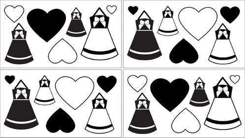 Black and White Princess Baby and Kids Wall Decal Stickers - Set of 4 Sheets - Click to enlarge
