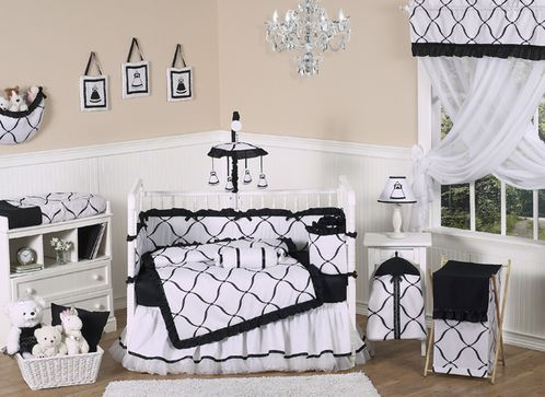 Black and White Princess Baby Bedding - 9 pc Crib Set - Click to enlarge