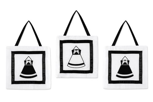 Black and White Princess Wall Hanging Accessories by Sweet Jojo Designs - Click to enlarge