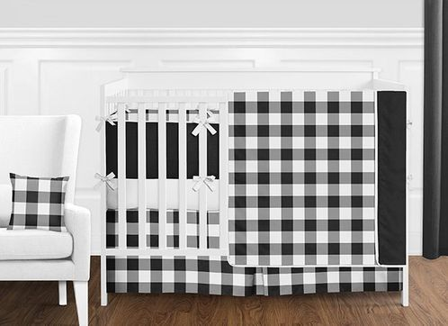 Black and White Rustic Country Buffalo Plaid Check Baby Boy or Girl Gender Neutral Crib Bedding Set with Bumper by Sweet Jojo Designs - 9 pieces - Click to enlarge