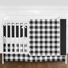 Black and White Rustic Country Buffalo Plaid Check Baby Boy or Girl Gender Neutral Crib Bedding Set with Bumper by Sweet Jojo Designs - 9 pieces