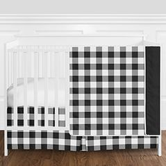 Black and White Rustic Country Buffalo Plaid Check Baby Boy or Girl Gender Neutral Crib Bedding Set without Bumper by Sweet Jojo Designs - 4 pieces
