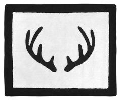 Black and White Rustic Deer Accent Floor Rug or Bath Mat for Woodland Camo Collection by Sweet Jojo Designs
