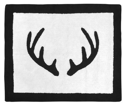 Black and White Rustic Deer Accent Floor Rug or Bath Mat for Woodland Camo Collection by Sweet Jojo Designs - Click to enlarge