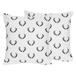 Black and White Rustic Deer Decorative Accent Throw Pillows for Woodland Camo Collection by Sweet Jojo Designs - Set of 2