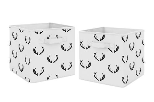 Black and White Rustic Deer Organizer Storage Bins for Woodland Camo Collection by Sweet Jojo Designs - Set of 2 - Click to enlarge