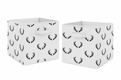 Black and White Rustic Deer Organizer Storage Bins for Woodland Camo Collection by Sweet Jojo Designs - Set of 2