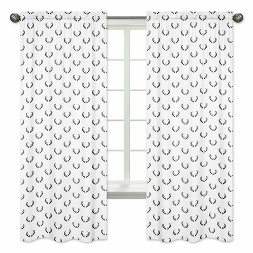 Black and White Rustic Deer Window Treatment Panels Curtains for Woodland Camo Collection by Sweet Jojo Designs - Set of 2 - Click to enlarge