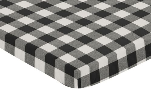 Black and White Rustic Woodland Flannel Baby Unisex Boy or Girl Fitted Mini Portable Crib Sheet for Buffalo Plaid Check Collection by Sweet Jojo Designs (For Mini Crib or Pack and Play ONLY) - Country Lumberjack - Click to enlarge