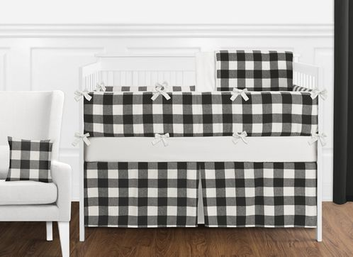 Black and White Rustic Woodland Flannel Buffalo Plaid Check Baby Unisex Boy or Girl Nursery Crib Bedding Set with Bumper by Sweet Jojo Designs - 9 pieces - Country Lumberjack - Click to enlarge