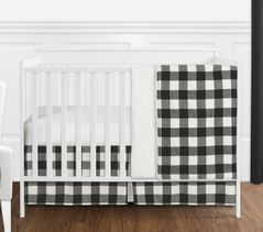 Black and White Rustic Woodland Flannel Buffalo Plaid Check Baby Unisex Boy or Girl Nursery Crib Bedding Set without Bumper by Sweet Jojo Designs - 4 pieces - Country Lumberjack