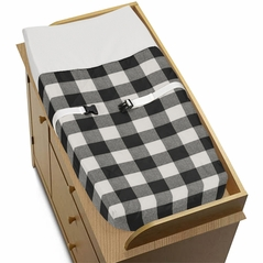 Black and White Rustic Woodland Flannel Unisex Boy or Girl Baby Changing Pad Cover for Buffalo Plaid Check Collection by Sweet Jojo Designs - Country Lumberjack