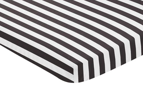 Black and White Stripe Baby Fitted Mini Portable Crib Sheet for Paris Collection by Sweet Jojo Designs - Click to enlarge