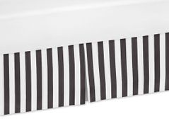 Black and White Stripe Crib Bed Skirt for Paris Bedding Sets