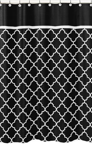 Black and White Trellis Kids Bathroom Fabric Bath Shower Curtain by Sweet Jojo Designs - Click to enlarge