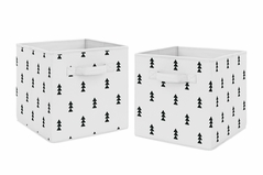 Black and White Triangle Foldable Fabric Storage Cube Bins Boxes Organizer Toys Kids Baby Childrens by Sweet Jojo Designs - Set of 2 - Woodland Forest Tree for Bear Mountain Watercolor Collection