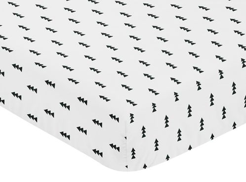 Black and White Triangle Tree Baby or Toddler Fitted Crib Sheet for Bear Mountain Watercolor Collection by Sweet Jojo Designs - Click to enlarge