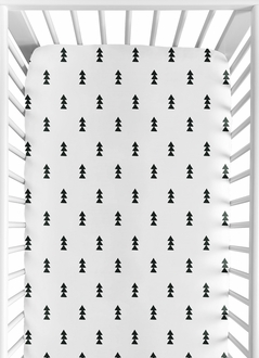 Black and White Triangle Tree Baby or Toddler Fitted Crib Sheet for Bear Mountain Watercolor Collection by Sweet Jojo Designs