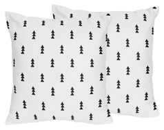 Black and White Triangle Tree Decorative Accent Throw Pillows for Bear Mountain Watercolor Collection by Sweet Jojo Designs - Set of 2