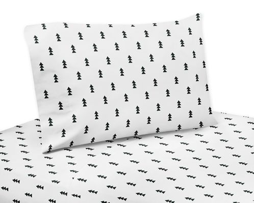 Black and White Triangle Tree Twin Sheet Set for Bear Mountain Watercolor Collection by Sweet Jojo Designs - 3 piece set - Click to enlarge