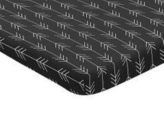 Black and White Woodland Arrow Baby Fitted Mini Portable Crib Sheet for Rustic Patch Collection by Sweet Jojo Designs