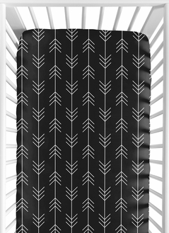 Black and White Woodland Arrow Baby or Toddler Fitted Crib Sheet for Rustic Patch Collection by Sweet Jojo Designs