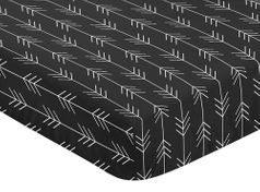 Black and White Woodland Arrow Boy Fitted Crib Sheet Baby or Toddler Bed Nursery by Sweet Jojo Designs - Rustic Country Farmhouse Lumberjack