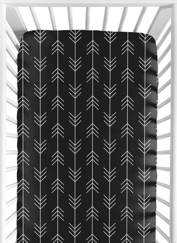 Black and White Woodland Arrow Boy Fitted Crib Sheet Baby or Toddler Bed Nursery by Sweet Jojo Designs - Rustic Country Farmhouse Lumberjack - Click to enlarge