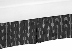 Black and White Woodland Arrow Boy Pleated Crib Bed Skirt Dust Ruffle for Rustic Patch Collection by Sweet Jojo Designs