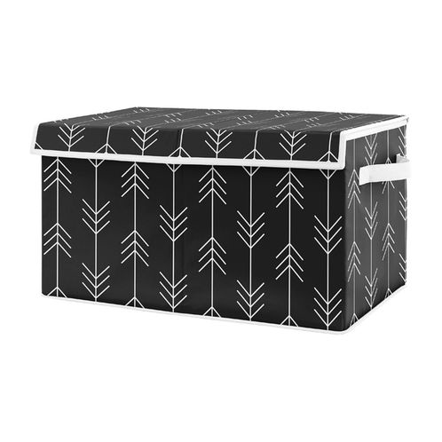 Black and White Woodland Arrow Boy Small Fabric Toy Bin Storage Box Chest For Baby Nursery or Kids Room by Sweet Jojo Designs - for the Rustic Patch Collection - Click to enlarge