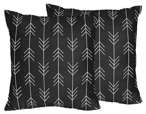 Black and White Woodland Arrow Decorative Accent Throw Pillows for Rustic Patch Collection by Sweet Jojo Designs - Set of 2 - Click to enlarge