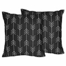 Black and White Woodland Arrow Decorative Accent Throw Pillows for Rustic Patch Collection by Sweet Jojo Designs - Set of 2