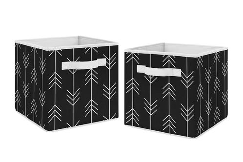 Black and White Woodland Arrow Organizer Storage Bins for Rustic Patch Collection by Sweet Jojo Designs - Set of 2 - Click to enlarge