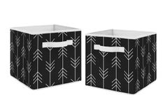 Black and White Woodland Arrow Organizer Storage Bins for Rustic Patch Collection by Sweet Jojo Designs - Set of 2