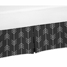 Black and White Woodland Arrow Pleated Toddler Bed Skirt Dust Ruffle for Rustic Patch Collection by Sweet Jojo Designs