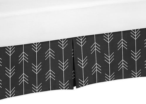 Black and White Woodland Arrow Pleated Toddler Bed Skirt Dust Ruffle for Rustic Patch Collection by Sweet Jojo Designs - Click to enlarge