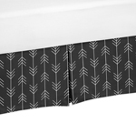Black and White Woodland Arrow Pleated Twin Bed Skirt Dust Ruffle for Rustic Patch Collection by Sweet Jojo Designs