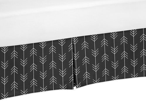 Black and White Woodland Arrow Pleated Twin Bed Skirt Dust Ruffle for Rustic Patch Collection by Sweet Jojo Designs - Click to enlarge