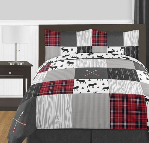 Grey, Black and Red Woodland Plaid and Arrow Rustic Patch Boy Full / Queen Kid Teen Bedding Comforter Set by Sweet Jojo Designs - 3 pieces - Flannel Moose Gray - Click to enlarge
