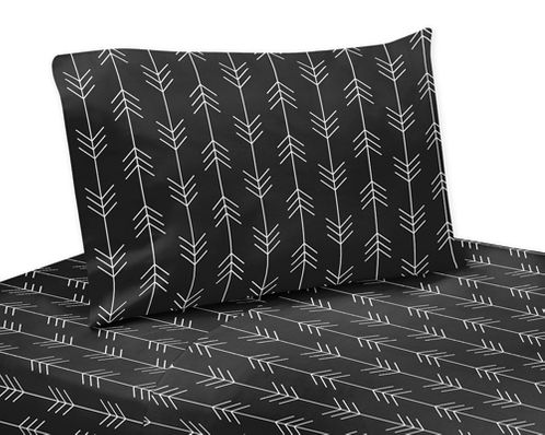 Black and White Woodland Arrow Queen Sheet Set for Rustic Patch Collection by Sweet Jojo Designs - 4 piece set - Click to enlarge