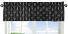 Black and White Woodland Arrow Window Treatment Valance by Sweet Jojo Designs - Rustic Country Farmhouse Lumberjack