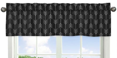 Black and White Woodland Arrow Window Treatment Valance by Sweet Jojo Designs - Rustic Country Farmhouse Lumberjack - Click to enlarge