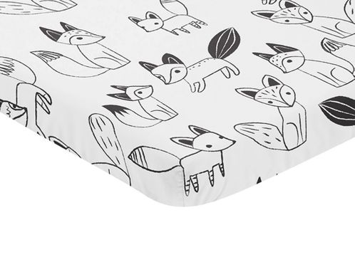 Black and White Woodland Baby Fitted Mini Portable Crib Sheet for Fox Collection by Sweet Jojo Designs - Click to enlarge