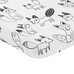 Black and White Woodland Baby Fitted Mini Portable Crib Sheet for Fox Collection by Sweet Jojo Designs